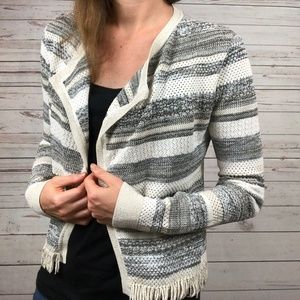 WHBM Gold Metallic Gray Stripe Cardi Blazer - G5